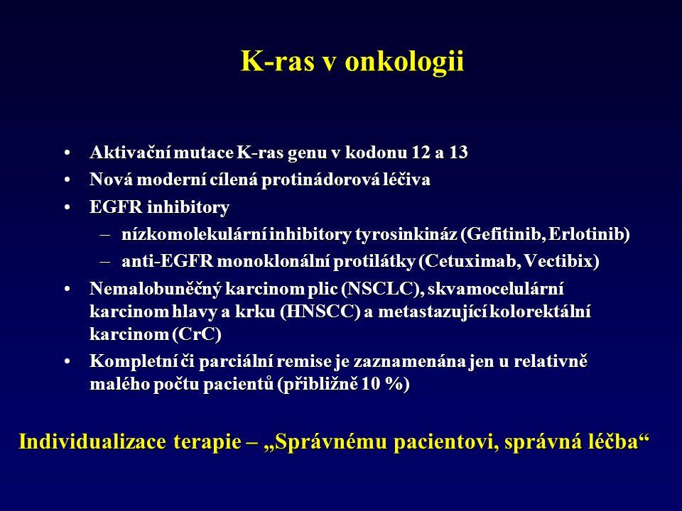 """K-ras v onkologii Aktivační mutace K-ras genu v kodonu 12 a 13Aktivační mutace K-ras genu v kodonu 12 a 13 Nová moderní cílená protinádorová léčivaNová moderní cílená protinádorová léčiva EGFR inhibitoryEGFR inhibitory –nízkomolekulární inhibitory tyrosinkináz (Gefitinib, Erlotinib) –anti-EGFR monoklonální protilátky (Cetuximab, Vectibix) Nemalobuněčný karcinom plic (NSCLC), skvamocelulární karcinom hlavy a krku (HNSCC) a metastazující kolorektální karcinom (CrC)Nemalobuněčný karcinom plic (NSCLC), skvamocelulární karcinom hlavy a krku (HNSCC) a metastazující kolorektální karcinom (CrC) Kompletní či parciální remise je zaznamenána jen u relativně malého počtu pacientů (přibližně 10 %)Kompletní či parciální remise je zaznamenána jen u relativně malého počtu pacientů (přibližně 10 %) Individualizace terapie – """"Správnému pacientovi, správná léčba"""