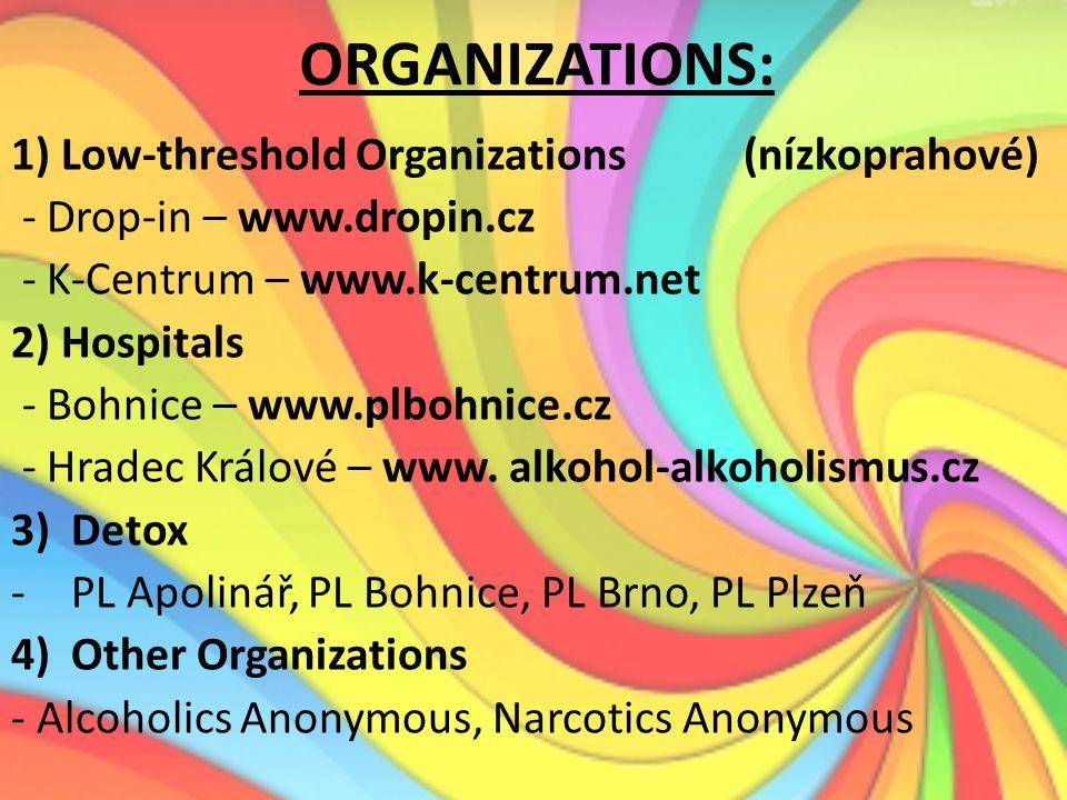 ORGANIZATIONS: 1) Low-threshold Organizations (nízkoprahové) - Drop-in – www.dropin.cz - K-Centrum – www.k-centrum.net 2) Hospitals - Bohnice – www.pl