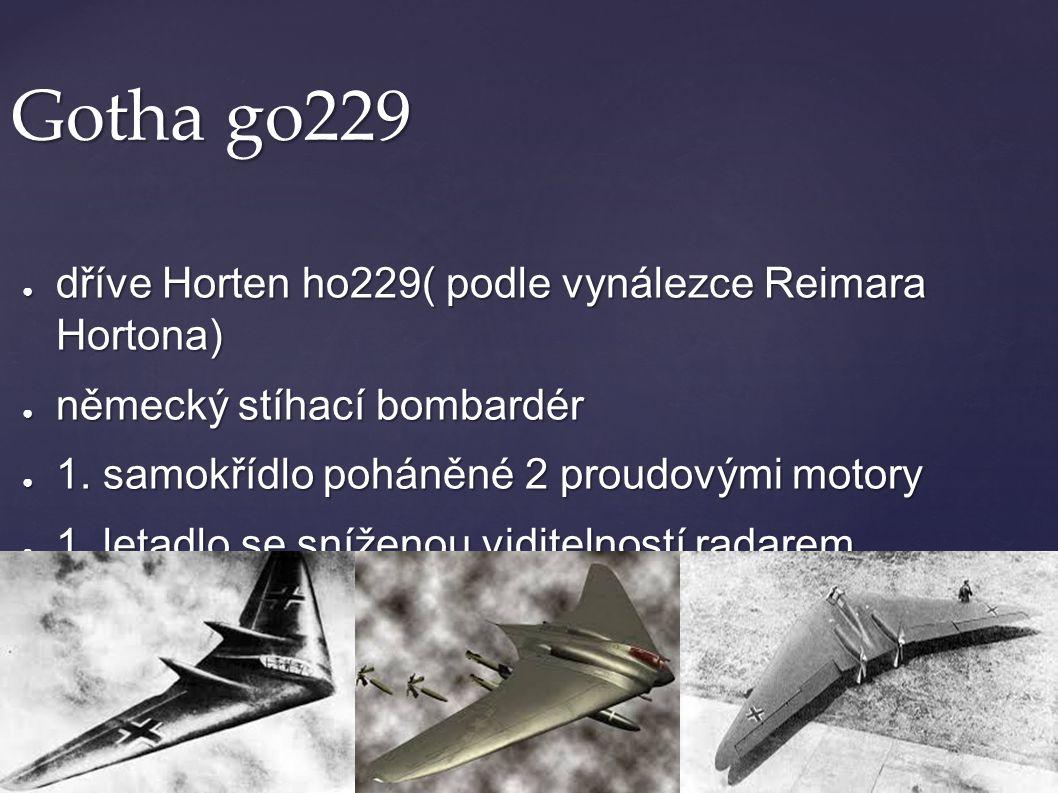 Gotha go229 ● dříve Horten ho229( podle vynálezce Reimara Hortona) ● německý stíhací bombardér ● 1. samokřídlo poháněné 2 proudovými motory ● 1. letad