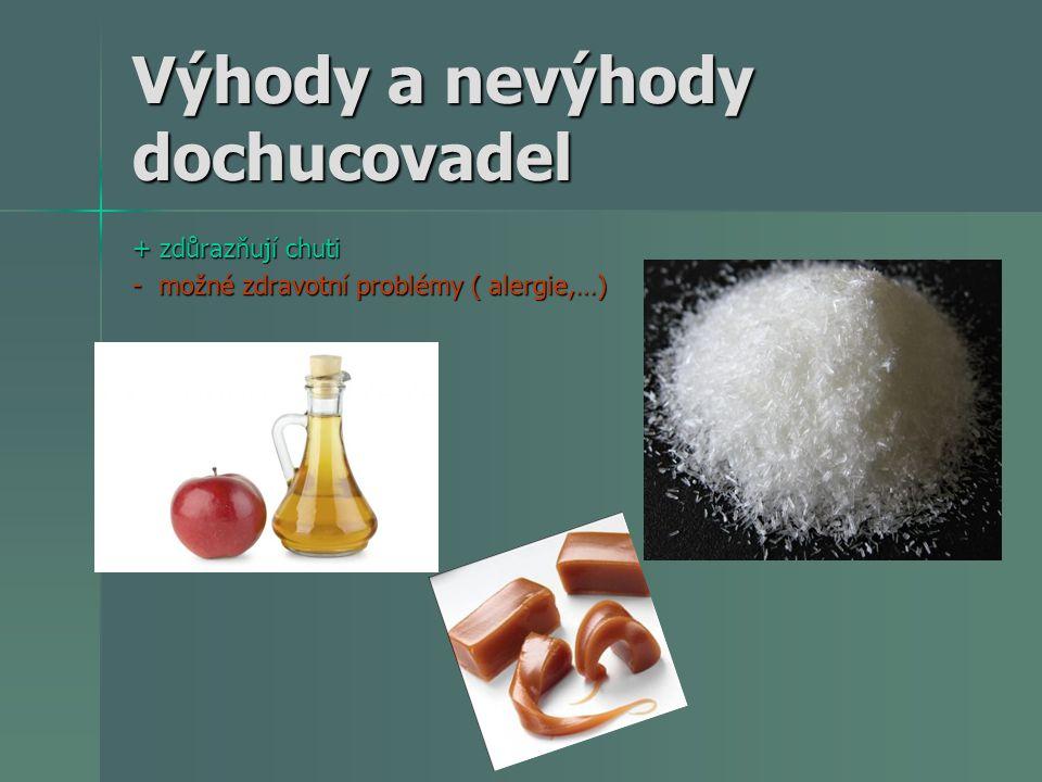 Zahušťovadla zvyšují viskositu potraviny zvyšují viskositu potraviny čokoládové výrobky: 0,5 % lecitinu-E 322/amonné soli fosfatidových kyselin -E 442 (zajišťují správnou konzistenci při výrobě tabulkové čokolády, čokoládových tyčinek,…) čokoládové výrobky: 0,5 % lecitinu-E 322/amonné soli fosfatidových kyselin -E 442 (zajišťují správnou konzistenci při výrobě tabulkové čokolády, čokoládových tyčinek,…) zmrzlina: během zmrazování, nejčastěji mono- a diglyceridy mastných kyselin-E 471, lecitin-E 322 a polysorbany-E 432, E 436 (vznikají hladké textury, zvyšuje se stabilita procesu zmrazování/rozmrazování) zmrzlina: během zmrazování, nejčastěji mono- a diglyceridy mastných kyselin-E 471, lecitin-E 322 a polysorbany-E 432, E 436 (vznikají hladké textury, zvyšuje se stabilita procesu zmrazování/rozmrazování) margariny: stabilita, textura a chuť (mono- a diglyceridy mastných kyselin-E 471, lecitin-E 322) margariny: stabilita, textura a chuť (mono- a diglyceridy mastných kyselin-E 471, lecitin-E 322) masné výrobky: především párků, jejichž hlavními složkami jsou masné bílkoviny, tuk a voda, tvořící stabilní emulzi, emulgátory tuto emulzi stabilizují a zajišťují jemné rozptýlení tuku v celé hmotě.