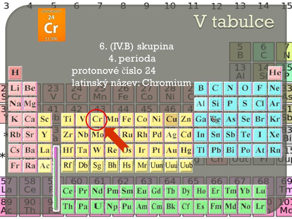 6. (IV.B) skupina 4. perioda protonové č íslo 24 latinský název: Chromium V tabulce