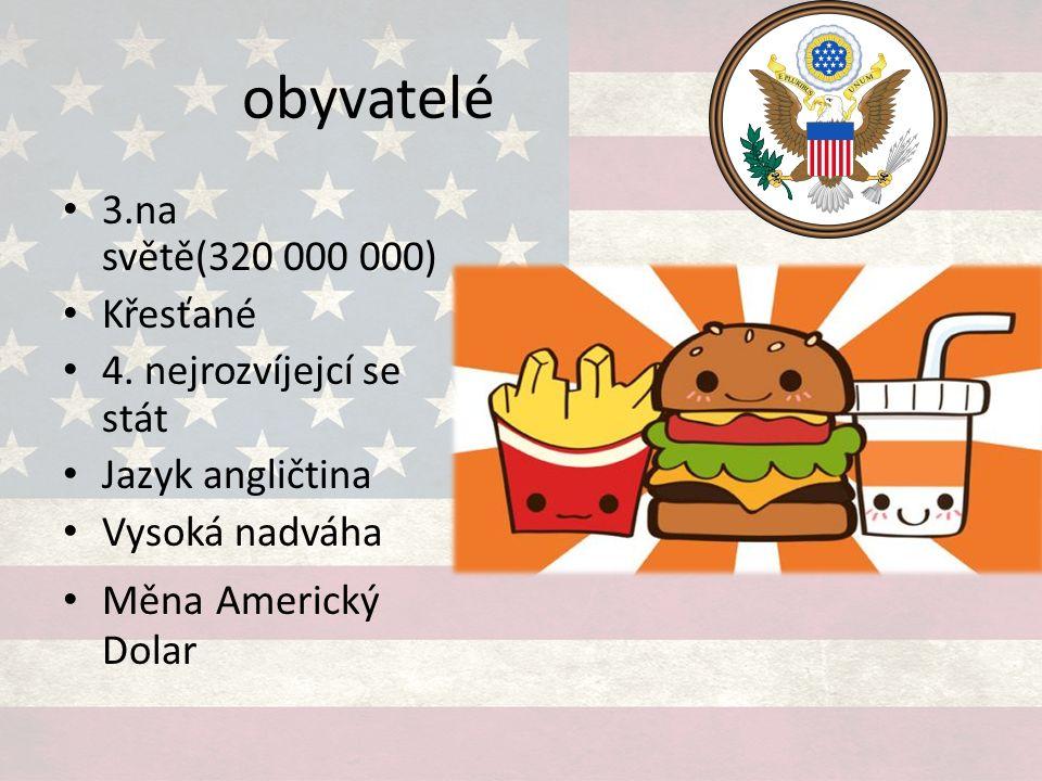 obyvatelé 3.na světě(320 000 000) Křesťané 4. nejrozvíjejcí se stát Jazyk angličtina Vysoká nadváha Měna Americký Dolar