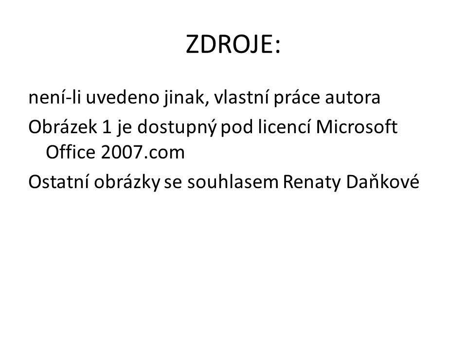 ZDROJE: není-li uvedeno jinak, vlastní práce autora Obrázek 1 je dostupný pod licencí Microsoft Office 2007.com Ostatní obrázky se souhlasem Renaty Da