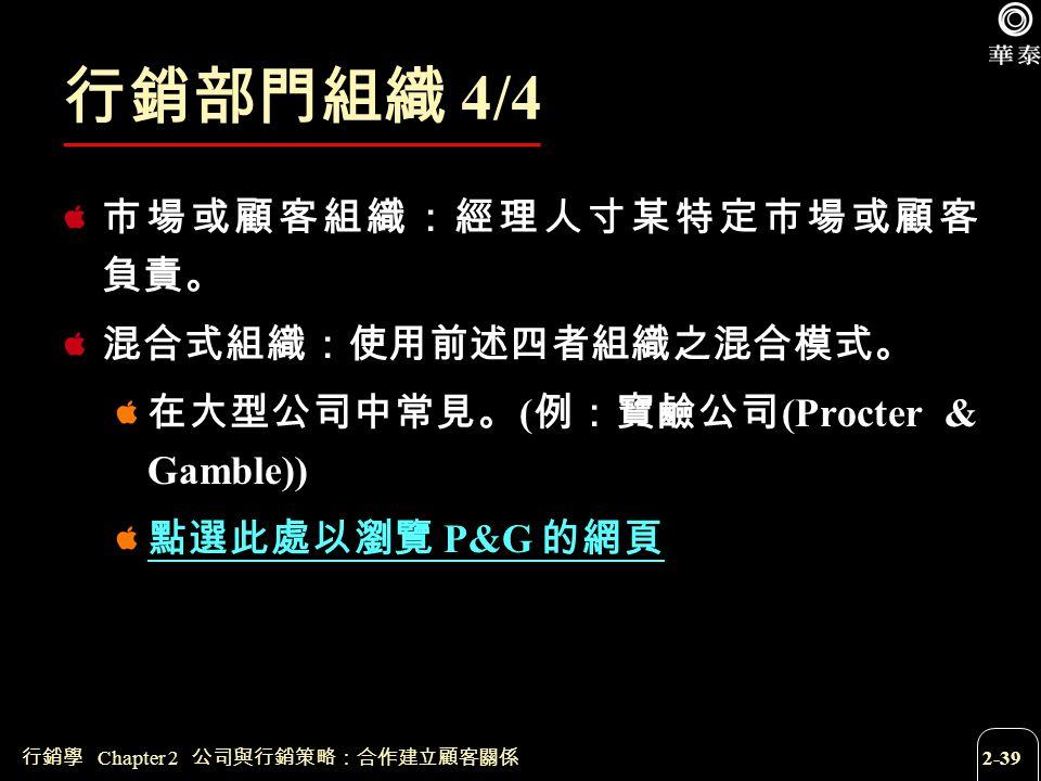 行銷學 Chapter 2 公司與行銷策略:合作建立顧客關係 2-39 行銷部門組織 4/4 市場或顧客組織:經理人寸某特定市場或顧客 負責。 混合式組織:使用前述四者組織之混合模式。 在大型公司中常見。 ( 例:寶鹼公司 (Procter & Gamble)) 點選此處以瀏覽 P&G 的網頁
