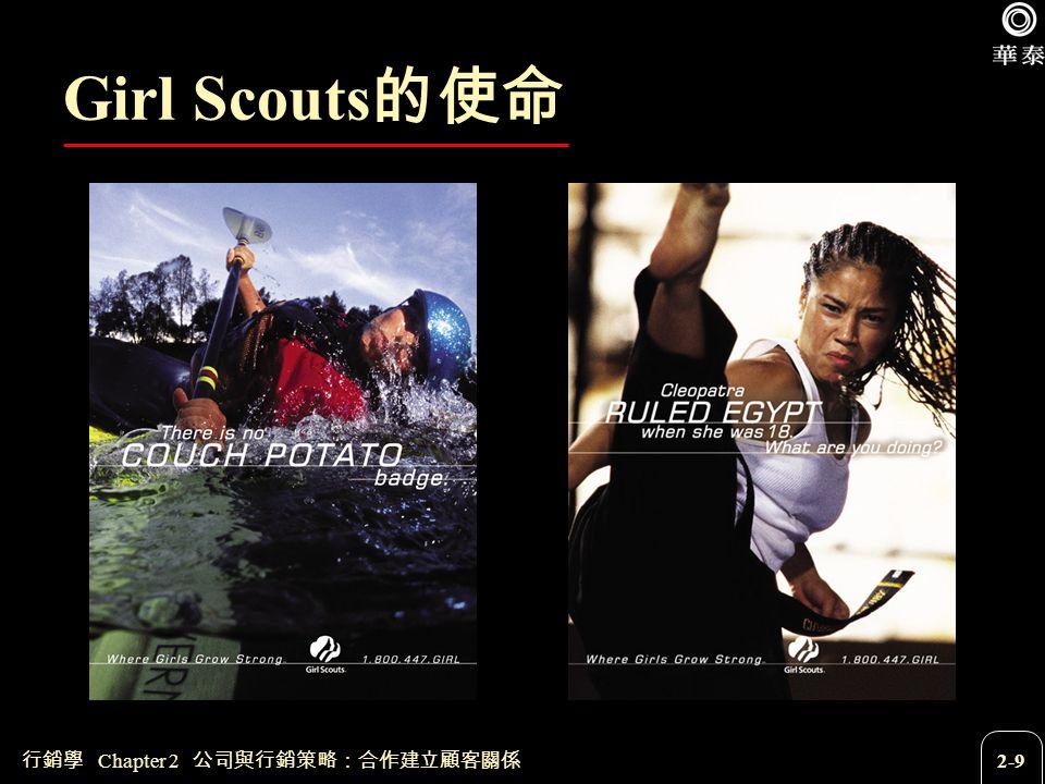 行銷學 Chapter 2 公司與行銷策略:合作建立顧客關係 2-9 Girl Scouts 的使命