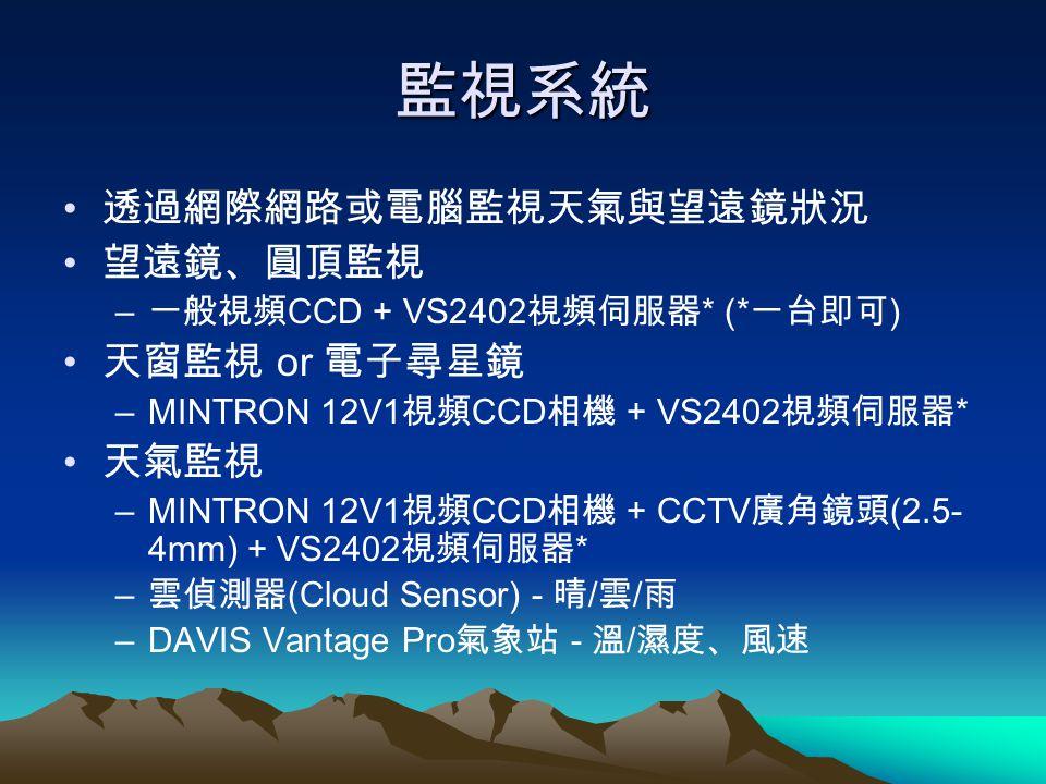 監視系統 透過網際網路或電腦監視天氣與望遠鏡狀況 望遠鏡、圓頂監視 – 一般視頻 CCD + VS2402 視頻伺服器 * (* 一台即可 ) 天窗監視 or 電子尋星鏡 –MINTRON 12V1 視頻 CCD 相機 + VS2402 視頻伺服器 * 天氣監視 –MINTRON 12V1 視頻 C