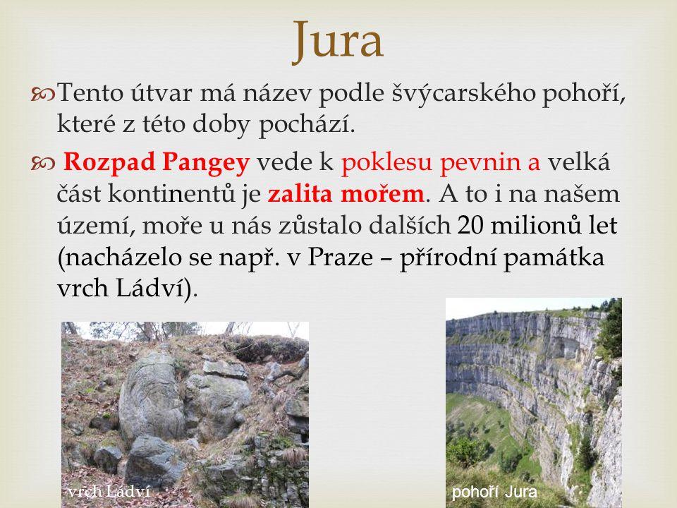 Jura  Tento útvar má název podle švýcarského pohoří, které z této doby pochází.  Rozpad Pangey vede k poklesu pevnin a velká část kontinentů je zali