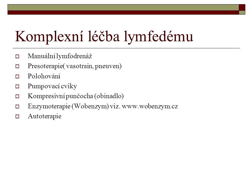 Komplexní léčba lymfedému  Manuální lymfodrenáž  Presoterapie( vasotrain, pneuven)  Polohování  Pumpovací cviky  Kompresivní punčocha (obinadlo)