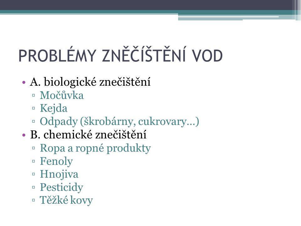 PROBLÉMY ZNĚČÍŠTĚNÍ VOD A. biologické znečištění ▫Močůvka ▫Kejda ▫Odpady (škrobárny, cukrovary…) B. chemické znečištění ▫Ropa a ropné produkty ▫Fenoly