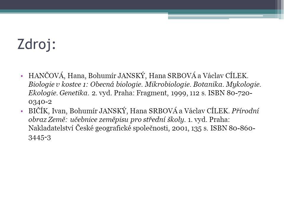 Zdroj: HANČOVÁ, Hana, Bohumír JANSKÝ, Hana SRBOVÁ a Václav CÍLEK. Biologie v kostce 1: Obecná biologie. Mikrobiologie. Botanika. Mykologie. Ekologie.