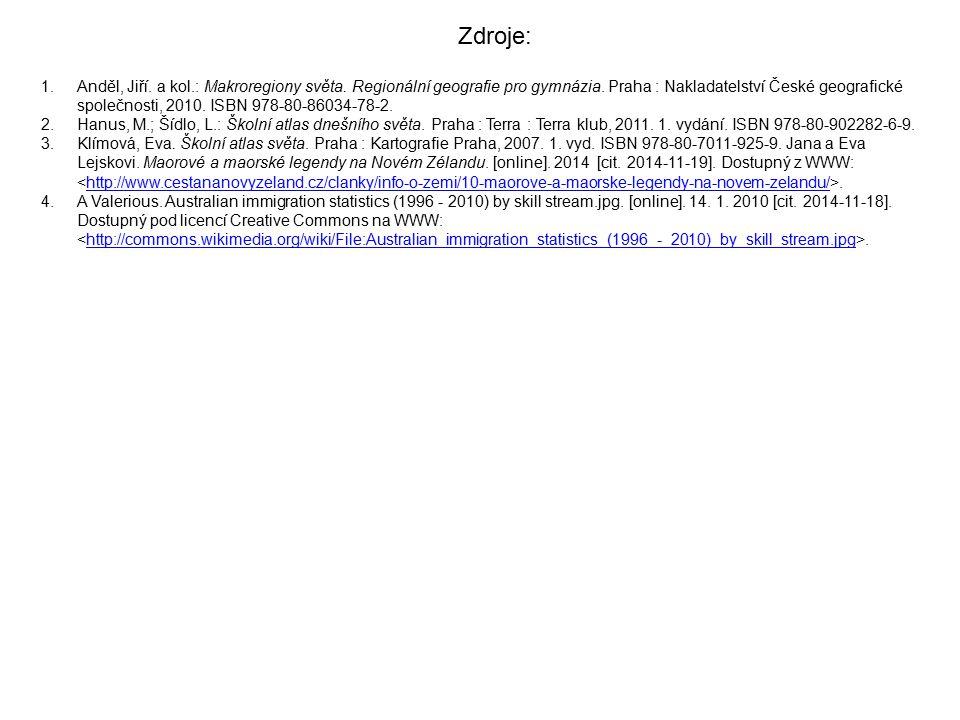 1.Anděl, Jiří. a kol.: Makroregiony světa. Regionální geografie pro gymnázia. Praha : Nakladatelství České geografické společnosti, 2010. ISBN 978-80-