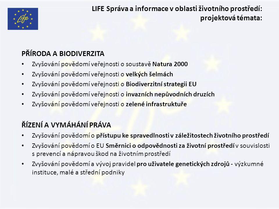 LIFE Správa a informace v oblasti životního prostředí: projektová témata: PŘÍRODA A BIODIVERZITA Zvyšování povědomí veřejnosti o soustavě Natura 2000 Zvyšování povědomí veřejnosti o velkých šelmách Zvyšování povědomí veřejnosti o Biodiverzitní strategii EU Zvyšování povědomí veřejnosti o invazních nepůvodních druzích Zvyšování povědomí veřejnosti o zelené infrastruktuře ŘÍZENÍ A VYMÁHÁNÍ PRÁVA Zvyšování povědomí o přístupu ke spravedlnosti v záležitostech životního prostředí Zvyšování povědomí o EU Směrnici o odpovědnosti za životní prostředí v souvislosti s prevencí a nápravou škod na životním prostředí Zvyšování povědomí a vývoj pravidel pro uživatele genetických zdrojů - výzkumné instituce, malé a střední podniky