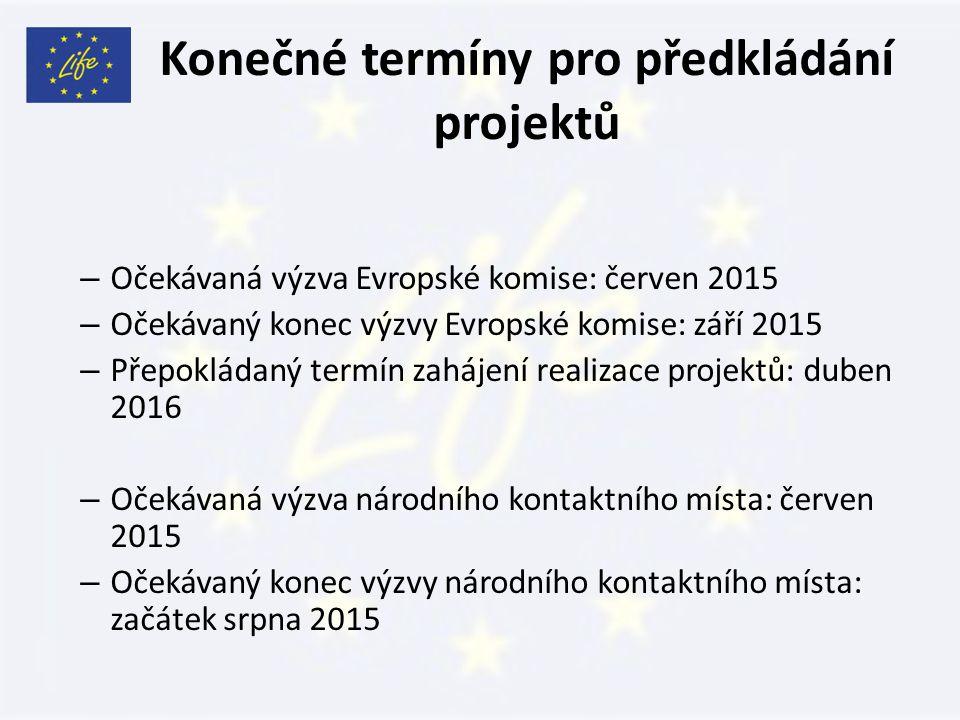 Konečné termíny pro předkládání projektů – Očekávaná výzva Evropské komise: červen 2015 – Očekávaný konec výzvy Evropské komise: září 2015 – Přepokládaný termín zahájení realizace projektů: duben 2016 – Očekávaná výzva národního kontaktního místa: červen 2015 – Očekávaný konec výzvy národního kontaktního místa: začátek srpna 2015