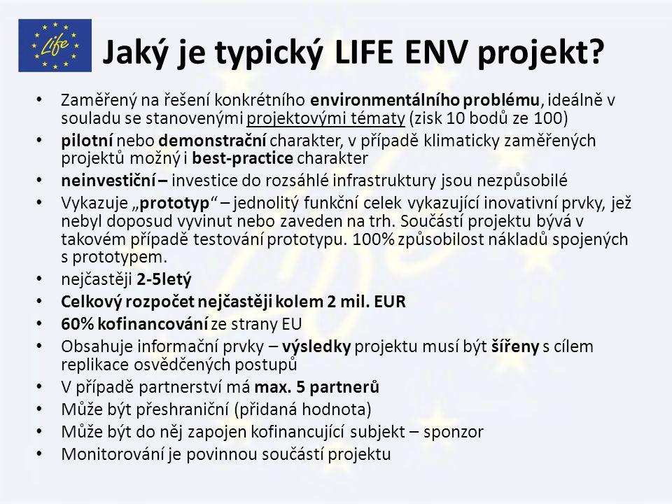 Jaký je typický LIFE ENV projekt.