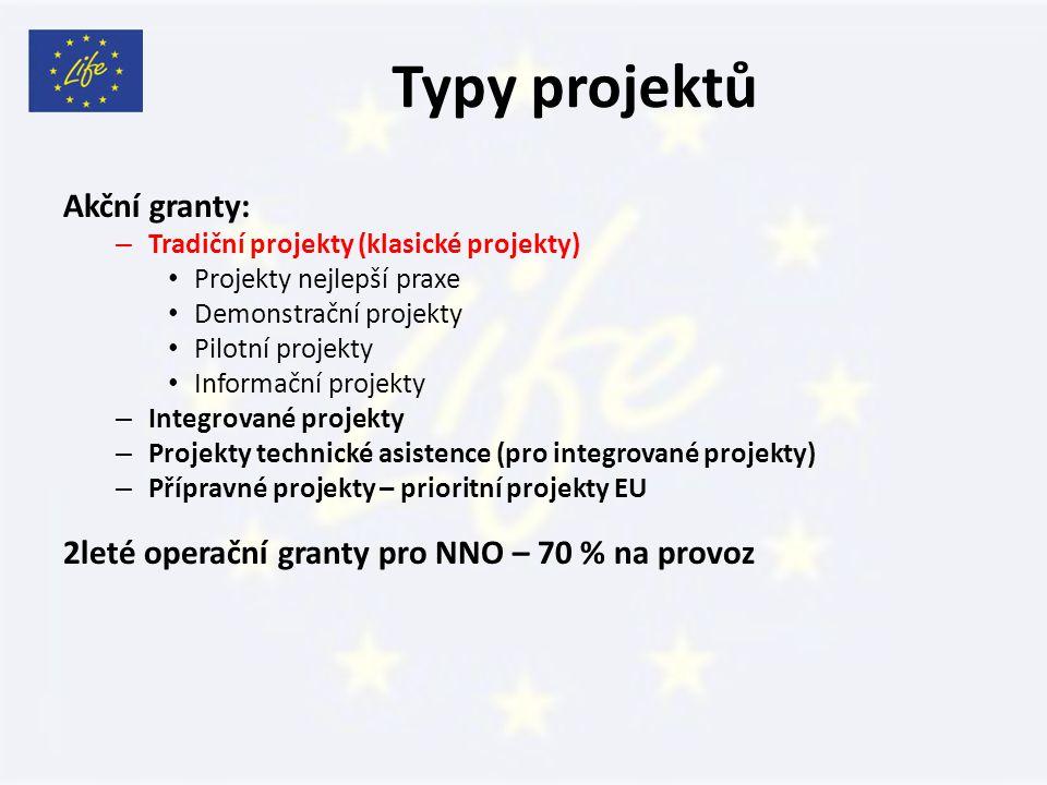 Typy projektů Akční granty: – Tradiční projekty (klasické projekty) Projekty nejlepší praxe Demonstrační projekty Pilotní projekty Informační projekty – Integrované projekty – Projekty technické asistence (pro integrované projekty) – Přípravné projekty – prioritní projekty EU 2leté operační granty pro NNO – 70 % na provoz