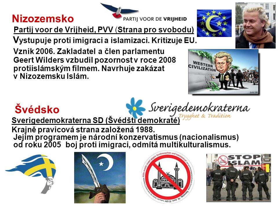 Nizozemsko Partij voor de Vrijheid, PVV (Strana pro svobodu) V ystupuje proti imigraci a islamizaci. Kritizuje EU. Vznik 2006. Zakladatel a člen parla
