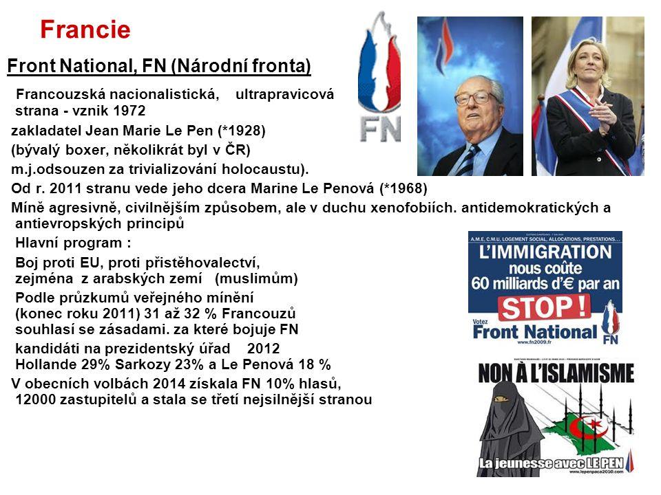 Francie Front National, FN (Národní fronta) Francouzská nacionalistická, ultrapravicová strana - vznik 1972 zakladatel Jean Marie Le Pen (*1928) (býva