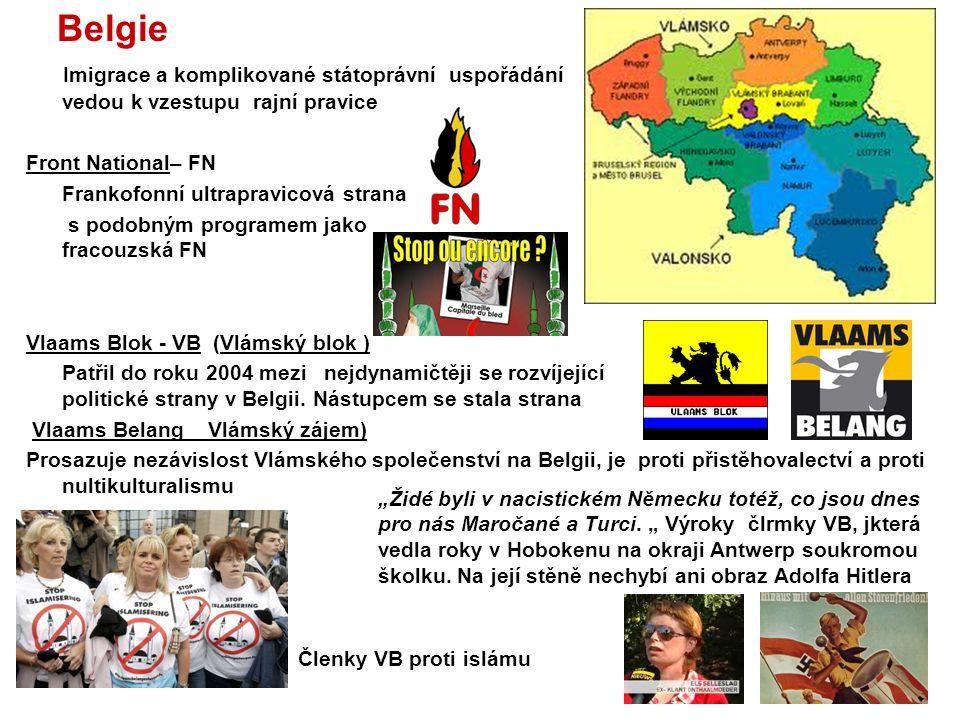 Belgie Imigrace a komplikované státoprávní uspořádání vedou k vzestupu rajní pravice Front National– FN Frankofonní ultrapravicová strana s podobným p