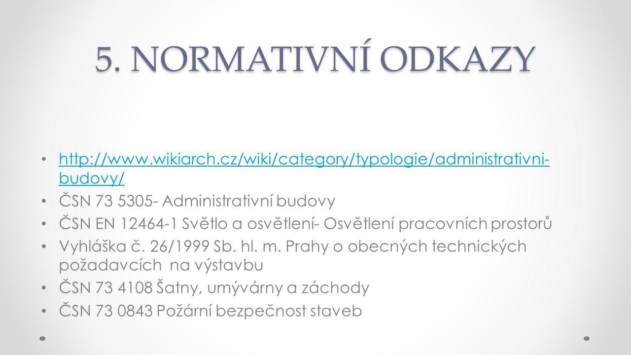 5. NORMATIVNÍ ODKAZY http://www.wikiarch.cz/wiki/category/typologie/administrativni- budovy/ http://www.wikiarch.cz/wiki/category/typologie/administra