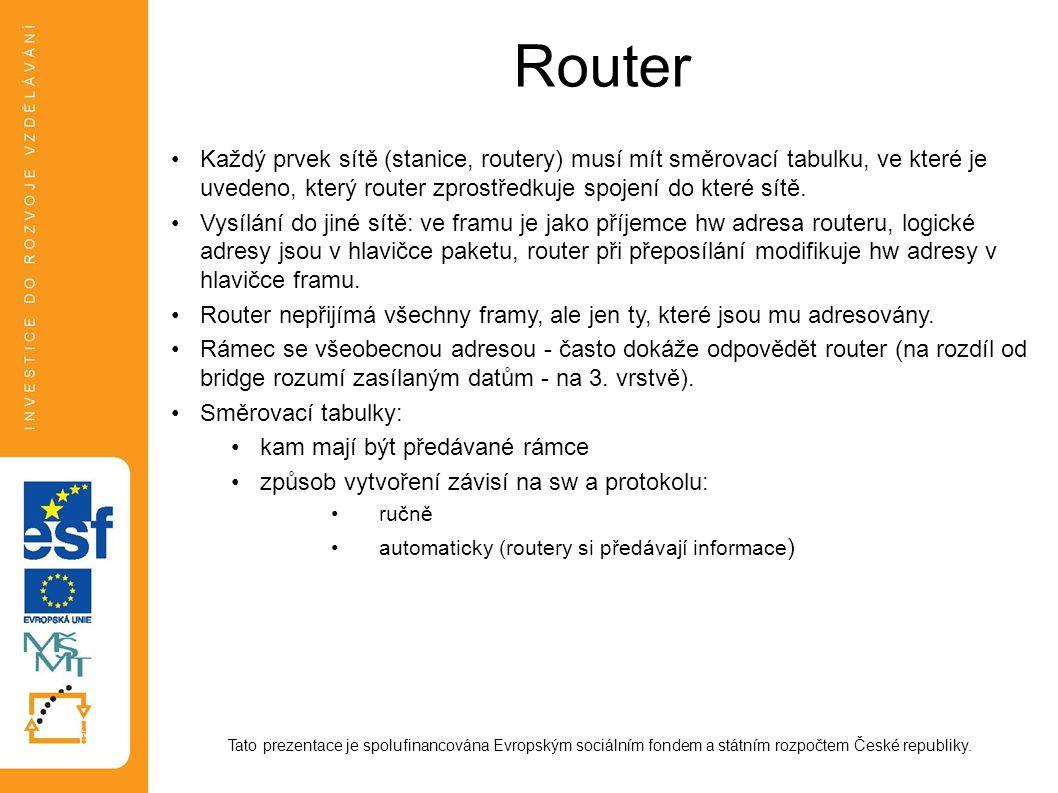 Router Tato prezentace je spolufinancována Evropským sociálním fondem a státním rozpočtem České republiky. Každý prvek sítě (stanice, routery) musí mí