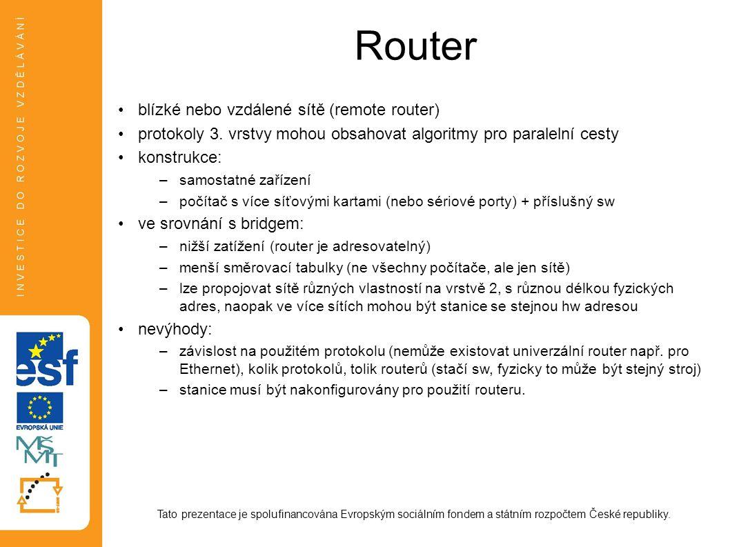Router Tato prezentace je spolufinancována Evropským sociálním fondem a státním rozpočtem České republiky. blízké nebo vzdálené sítě (remote router) p