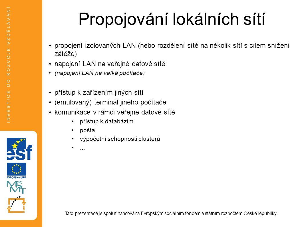 Propojování lokálních sítí propojení izolovaných LAN (nebo rozdělení sítě na několik sítí s cílem snížení zátěže) napojení LAN na veřejné datové sítě