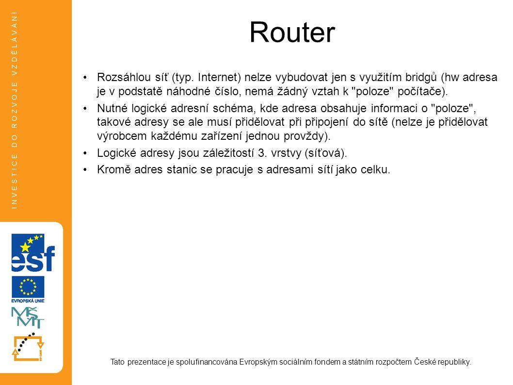 Router Tato prezentace je spolufinancována Evropským sociálním fondem a státním rozpočtem České republiky. Rozsáhlou síť (typ. Internet) nelze vybudov