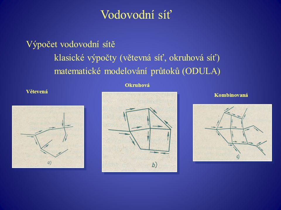 Vodovodní síť Výpočet vodovodní sítě klasické výpočty (větevná síť, okruhová síť) matematické modelování průtoků (ODULA) Větevená Okruhová Kombinovaná