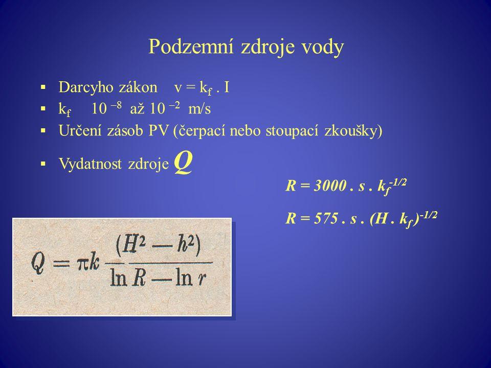 Podzemní zdroje vody  Darcyho zákon v = k f. I  k f 10 –8 až 10 –2 m/s  Určení zásob PV (čerpací nebo stoupací zkoušky)  Vydatnost zdroje Q R = 30