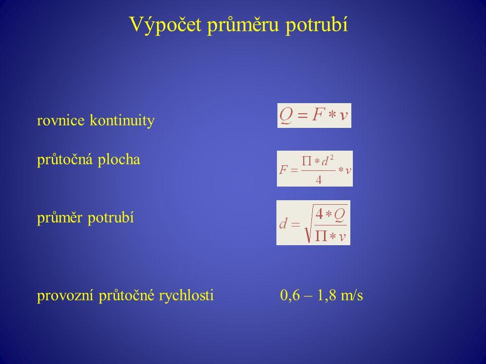 Výpočet průměru potrubí rovnice kontinuity průtočná plocha průměr potrubí provozní průtočné rychlosti0,6 – 1,8 m/s
