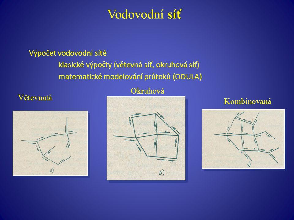 sí ť Vodovodní sí ť Výpočet vodovodní sítě klasické výpočty (větevná síť, okruhová síť) matematické modelování průtoků (ODULA) Větevnatá Okruhová Komb