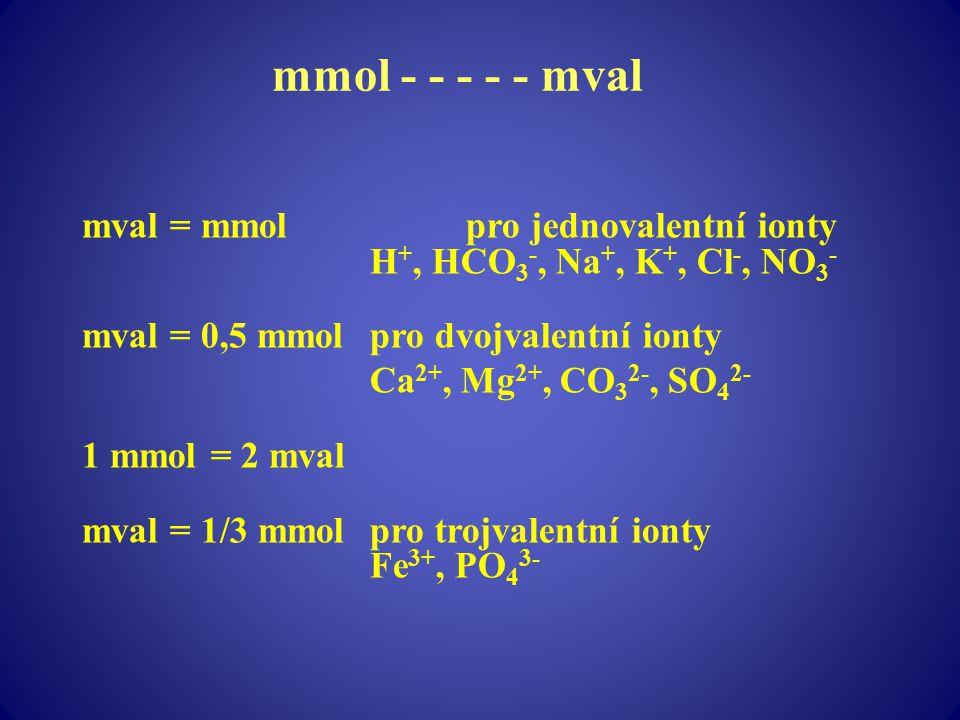 mmol - - - - - mval mval = mmolpro jednovalentní ionty H +, HCO 3 -, Na +, K +, Cl -, NO 3 - mval = 0,5 mmolpro dvojvalentní ionty Ca 2+, Mg 2+, CO 3