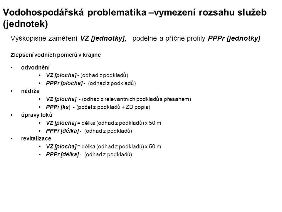 Vodohospodářská problematika –vymezení rozsahu služeb (jednotek) Výškopisné zaměření VZ [jednotky], podélné a příčné profily PPPr [jednotky] Zlepšení vodních poměrů v krajině odvodnění VZ [plocha] - (odhad z podkladů) PPPr [plocha] - (odhad z podkladů) nádrže VZ [plocha] - (odhad z relevantních podkladů s přesahem) PPPr [ks] - (počet z podkladů + ZD popis) úpravy toků VZ [plocha] = délka (odhad z podkladů) x 50 m PPPr [délka] - (odhad z podkladů) revitalizace VZ [plocha] = délka (odhad z podkladů) x 50 m PPPr [délka] - (odhad z podkladů)