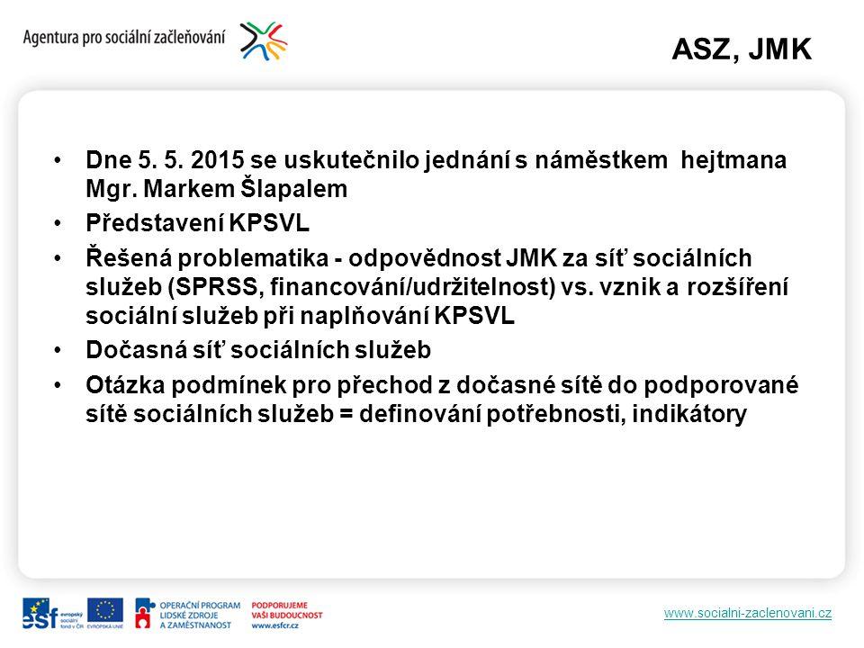 www.socialni-zaclenovani.cz ASZ, JMK Dne 5. 5. 2015 se uskutečnilo jednání s náměstkem hejtmana Mgr. Markem Šlapalem Představení KPSVL Řešená problema
