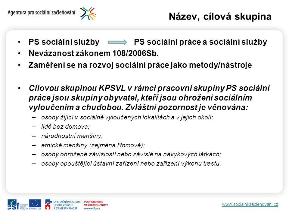 www.socialni-zaclenovani.cz Název, cílová skupina PS sociální služby PS sociální práce a sociální služby Nevázanost zákonem 108/2006Sb. Zaměření se na