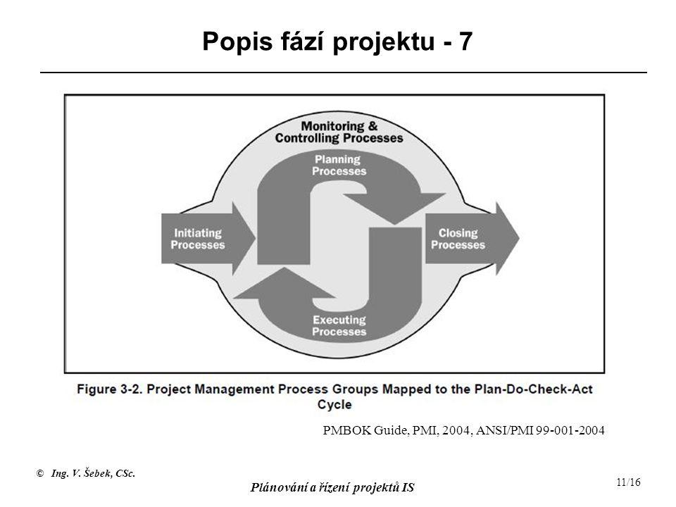 © Ing. V. Šebek, CSc. Plánování a řízení projektů IS 11/16 Popis fází projektu - 7 PMBOK Guide, PMI, 2004, ANSI/PMI 99-001-2004