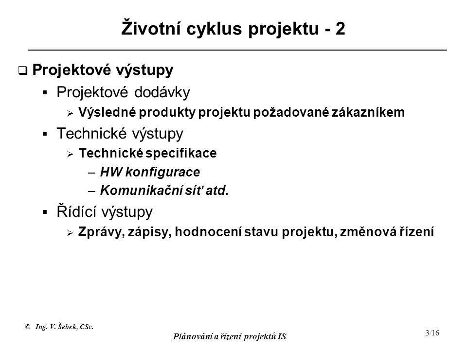© Ing. V. Šebek, CSc. Plánování a řízení projektů IS 3/16 Životní cyklus projektu - 2  Projektové výstupy  Projektové dodávky  Výsledné produkty pr