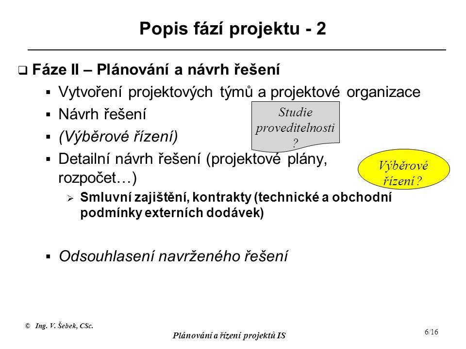 © Ing. V. Šebek, CSc. Plánování a řízení projektů IS 6/16 Popis fází projektu - 2  Fáze II – Plánování a návrh řešení  Vytvoření projektových týmů a