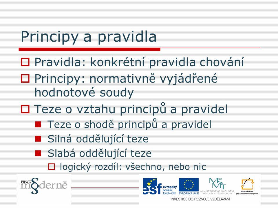 Principy a pravidla  Pravidla: konkrétní pravidla chování  Principy: normativně vyjádřené hodnotové soudy  Teze o vztahu principů a pravidel Teze o