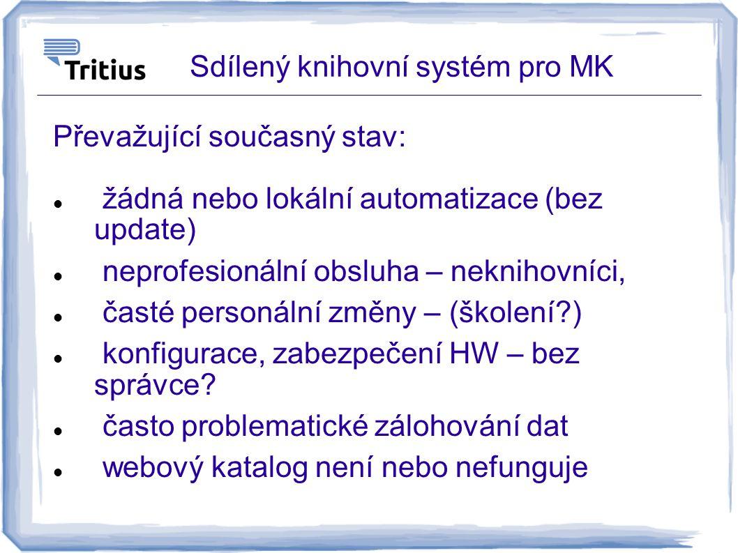 Sdílený knihovní systém pro MK Převažující současný stav: žádná nebo lokální automatizace (bez update) neprofesionální obsluha – neknihovníci, časté p