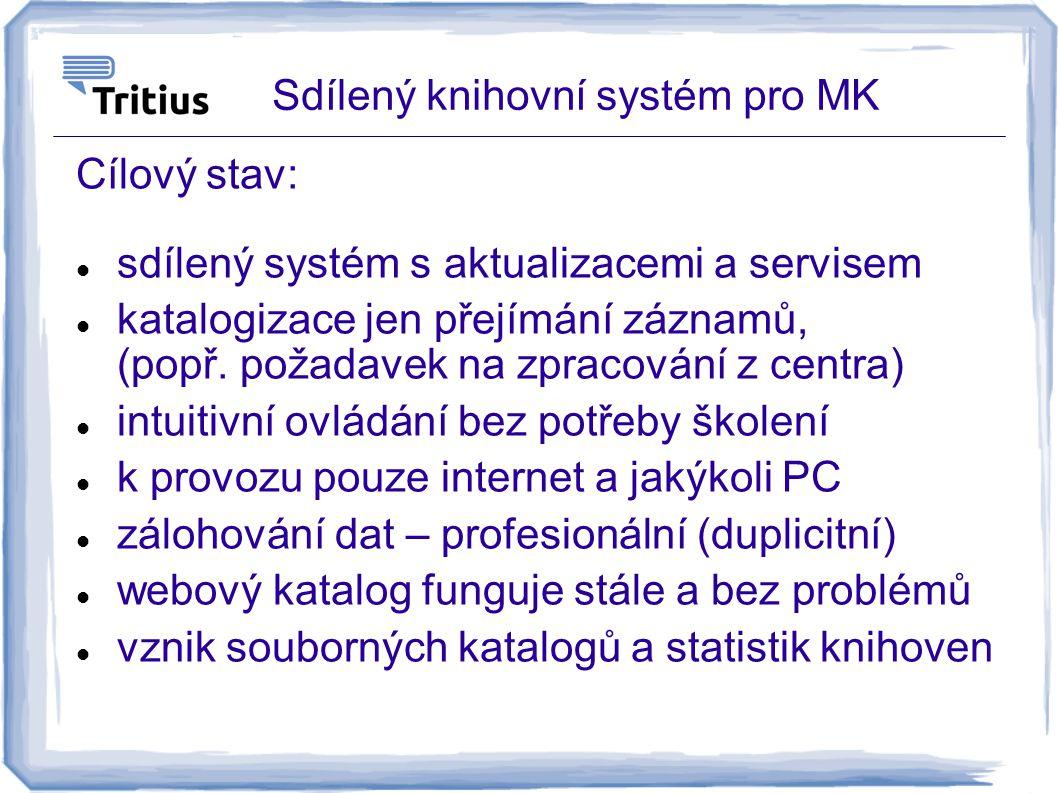 Sdílený knihovní systém pro MK Cílový stav: sdílený systém s aktualizacemi a servisem katalogizace jen přejímání záznamů, (popř. požadavek na zpracová