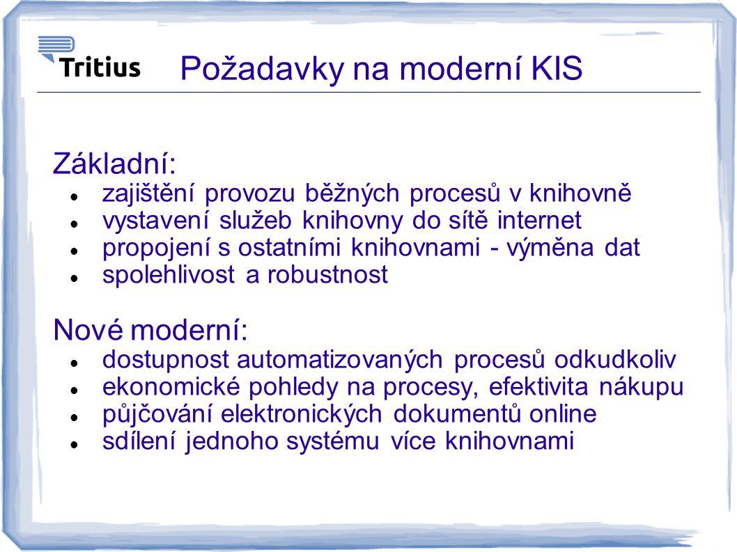 Požadavky na moderní KIS Základní: zajištění provozu běžných procesů v knihovně vystavení služeb knihovny do sítě internet propojení s ostatními kniho