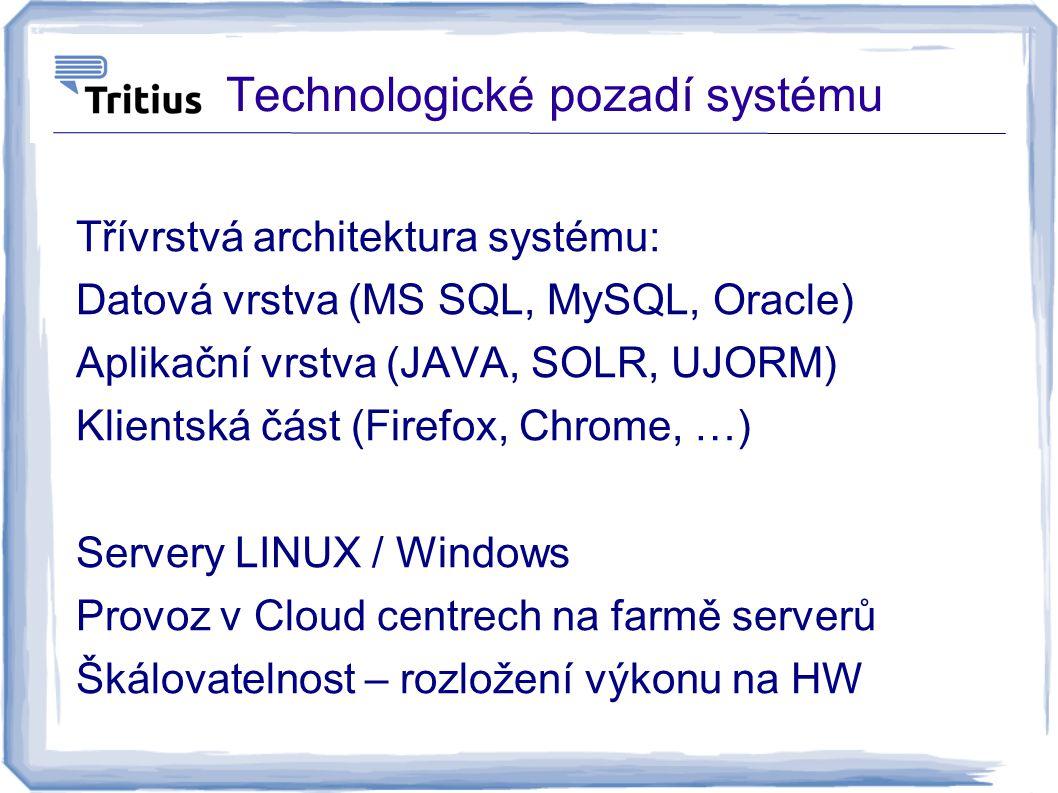 Technologické pozadí systému Třívrstvá architektura systému: Datová vrstva (MS SQL, MySQL, Oracle) Aplikační vrstva (JAVA, SOLR, UJORM) Klientská část