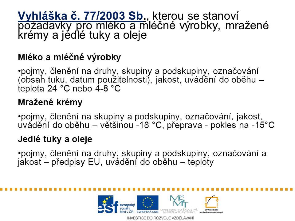 Vyhláška č. 77/2003 Sb., kterou se stanoví požadavky pro mléko a mléčné výrobky, mražené krémy a jedlé tuky a oleje Mléko a mléčné výrobky pojmy, člen