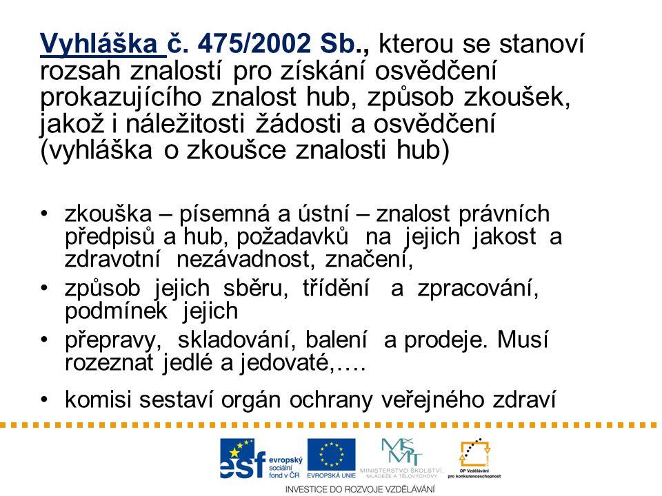 Vyhláška č. 475/2002 Sb., kterou se stanoví rozsah znalostí pro získání osvědčení prokazujícího znalost hub, způsob zkoušek, jakož i náležitosti žádos