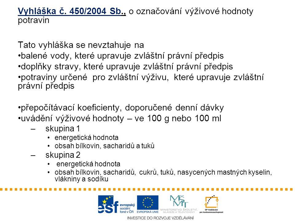 Vyhláška č. 450/2004 Sb., o označování výživové hodnoty potravin Tato vyhláška se nevztahuje na balené vody, které upravuje zvláštní právní předpis do