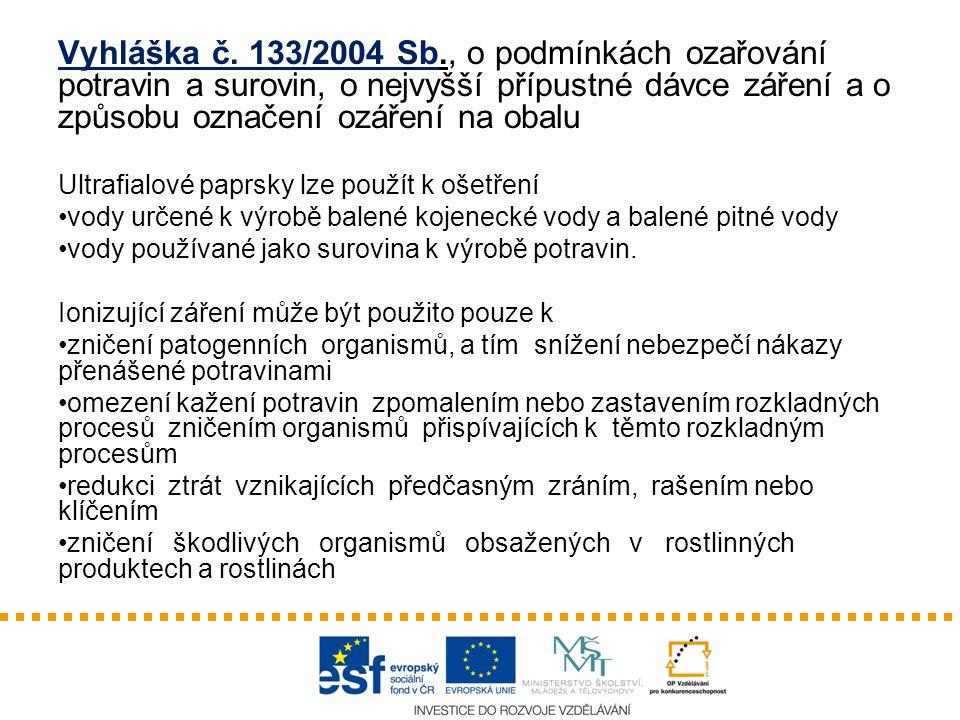 Vyhláška č. 133/2004 Sb., o podmínkách ozařování potravin a surovin, o nejvyšší přípustné dávce záření a o způsobu označení ozáření na obalu Ultrafial