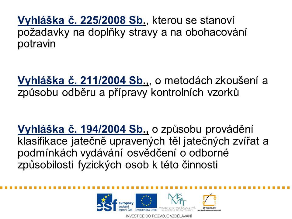Vyhláška č. 225/2008 Sb., kterou se stanoví požadavky na doplňky stravy a na obohacování potravin Vyhláška č. 211/2004 Sb.,, o metodách zkoušení a způ