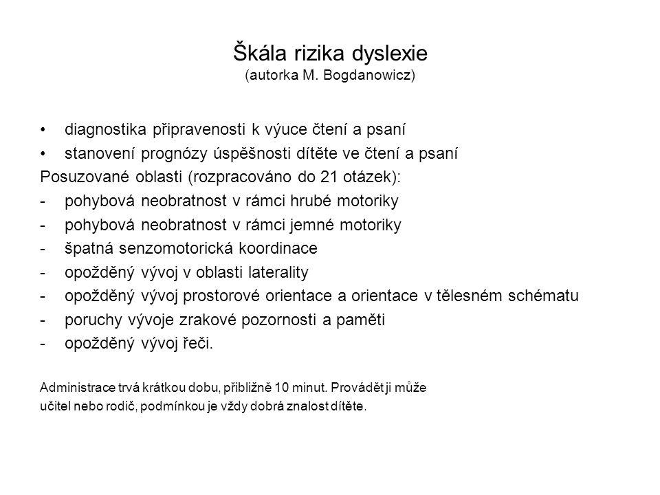 Škála rizika dyslexie (autorka M. Bogdanowicz) diagnostika připravenosti k výuce čtení a psaní stanovení prognózy úspěšnosti dítěte ve čtení a psaní P