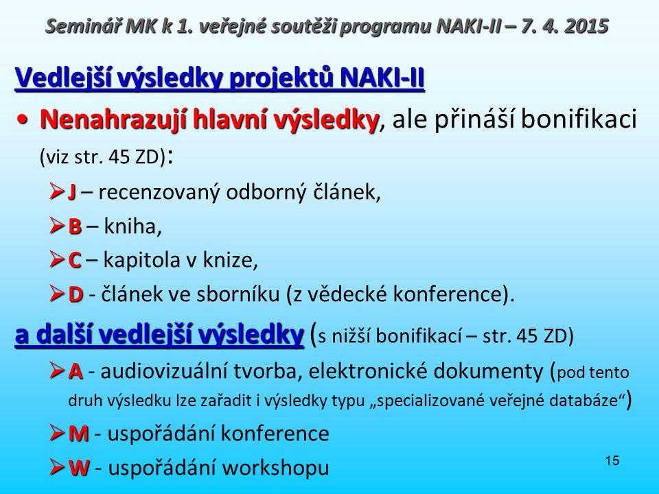15 Vedlejší výsledky projektů NAKI-II Nenahrazují hlavní výsledkyNenahrazují hlavní výsledky, ale přináší bonifikaci (viz str. 45 ZD) :  J  J – rece